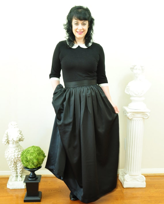 Black Duchess Satin Ball Gown Skirt long full pleated or