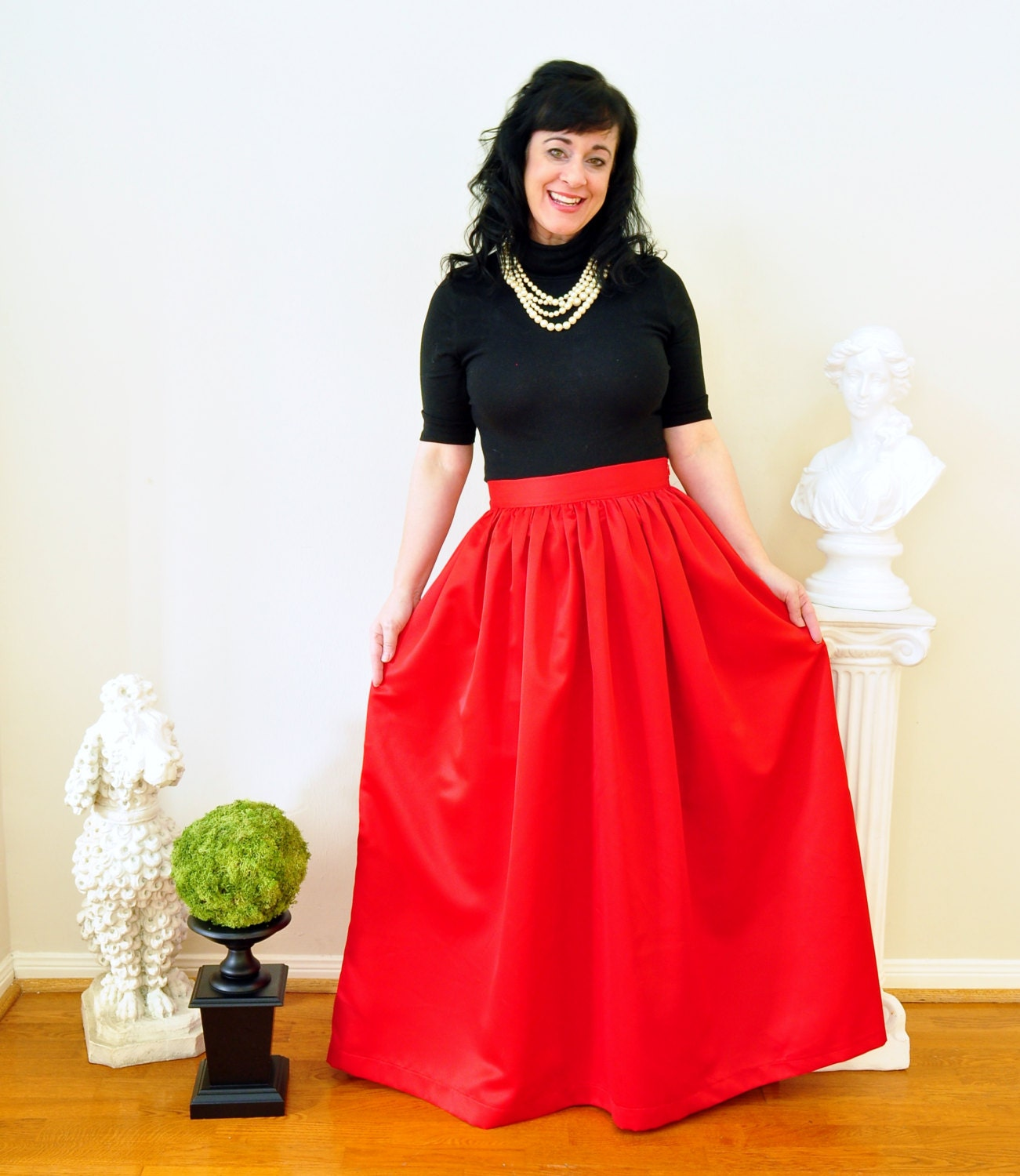 Red Duchess Satin Ball Gown Skirt Custom made long full