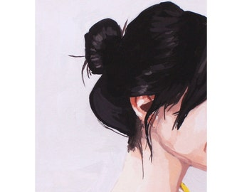 "5x7"" hair art - ""Top Knot 41"" giclee print"