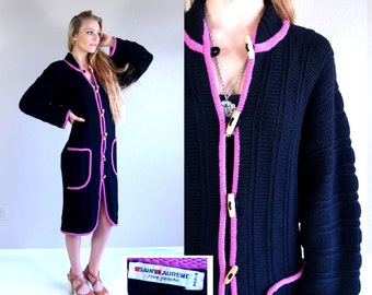 vtg 70s black YSL Yves Saint Laurent SWEATER COAT jumper xs/s toggle button ribbed avant garde jacket knit cardigan coat wool fushia pink