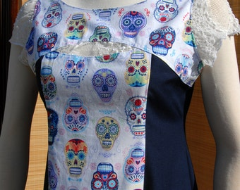 Deedee Dress, Festive Sugar Skulls with White Lace and Navy Panels