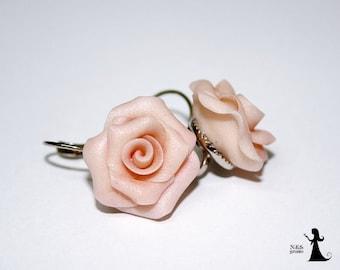 Bridal Tea rose earrings - Bridal earrings - Wedding earrings - Custom order
