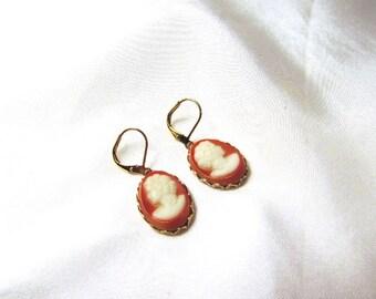 Regency Cameo Earrings, Vintage Cameo Dangle Earrings, Carnelian and White Cameo Jewelry, Jane Austen Earrings, Georgian Earrings, 19th C.