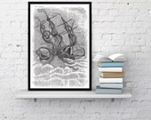 Wall Art  print Old Style Kraken Giant Octopus Print dictionary page. Wall art octopus monster print. Wall decor octopus art print BPSL079