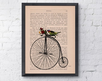 Summer Sale Print Dictionary or Encyclopedia Page Print Book print  Antique bike waiting for you Print on Vintage Book art ANI181