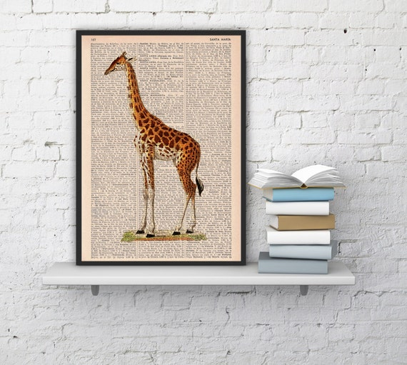 Spring Sale Giraffe Dictionary Book Print  Altered art on upcycled book pages BPAN011