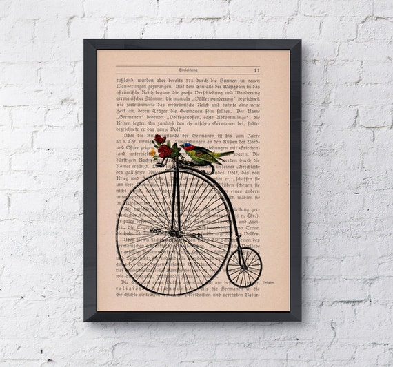 Vintage Book Print Dictionary or Encyclopedia Page Print- Book print  Antique bike waiting for you Print on Vintage Book art BPAN181