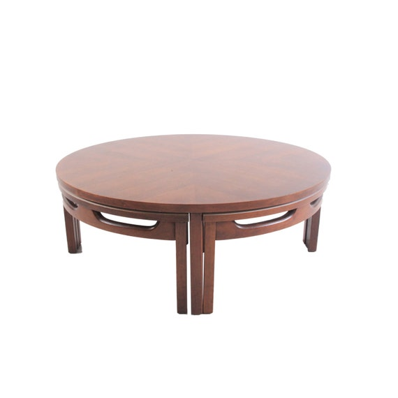 Vintage Mid Century Modern Round Coffee Table With Stools
