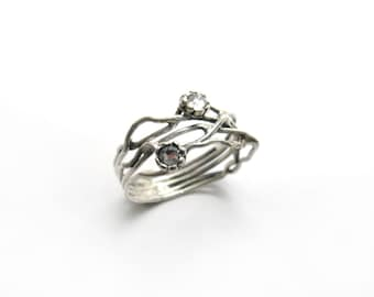 Silver crystal ring. Sterling silver organic ring design. Branch ring. Crystal jewelry, gift for her, birthday gift (sr-9906-1296-1547)