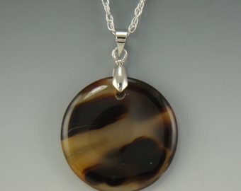 Brown and White Agate Pendant with SS Chain