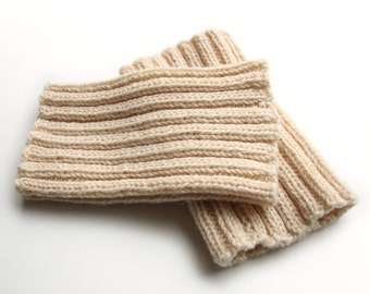 Handmade Ribbing Knit Boot Cuffs - Bulky Boot Toppers, Leg Warmers - 100% Natural Wool Yarn