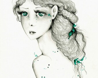 """She's Called """"A Kindred Spirit is a Fragile One"""" a One of a Kind Work of Art Hand Drawn with Pencils and Watercolor Paints Fine Art for Her"""