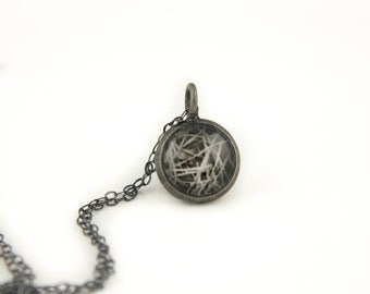 Gift for Her - Pine Needles - Oxidized Necklace - Photo Jewelry - Antiqued Silver Pendant on Oxidized 925 Sterling Silver Chain