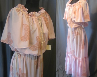 1970s Vintage YSL Lingerie /  Pink Sheer Nightgown with stylized Butterfly print / 70s Drawstring Lingerie NWT Size M/L