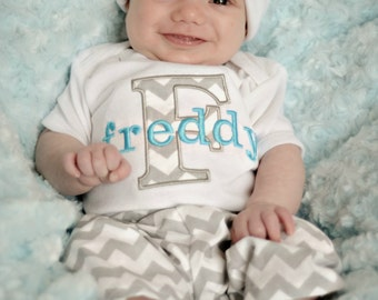 Baby boy clothes personalized baby boy outfit monogram baby personalized baby boy gift baby boy clothes gray turquoise bodysuit hat pants options newborn boy negle Image collections