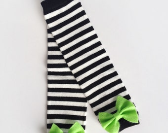 Black and White Striped Baby Leg Warmers with Bow, Choose Your Color Bow