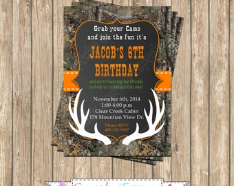 Camo Boy Hunting deer #4 Birthday Party  PRINTABLE Invitation 5x7  camouflage orange realtree chalkboard