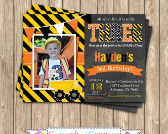 Construction Zone Invitation Birthday Party  PRINTABLE Chalkboard  Photo Invitation 5x7 4x6  dump truck tools cupcake express