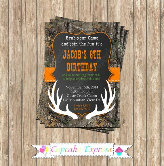 Camo Boy Hunting Deer 4 Birthday Party PRINTABLE Invitation