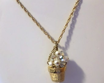 Charming Flower Pot of Pearls and Crystals Vintage Necklace