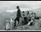 Hunting Dogs Gamekeeper Aberfoyle Scotland Dog Print Scottish Highlands Antique Magazine Photo William Reid Wall Decor