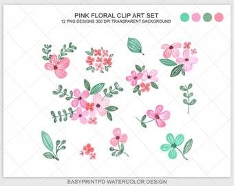 Flower Clip Art, Watercolor Clip Art, Floral Clipart, Flower Clip Art, Digital Clip Art, Wedding Clip Art, Shabby Chic, Pink Green Clip Art