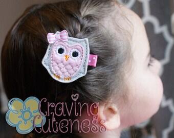 Adorable Owl Hair Clip - Meet Miss Owlana (Gray)