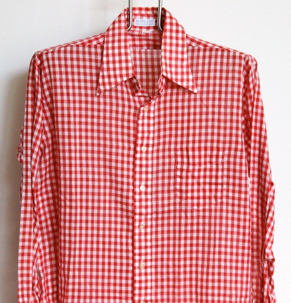 Vintage red white gingham plaid shirt mens large extra large for Red and green checked shirt