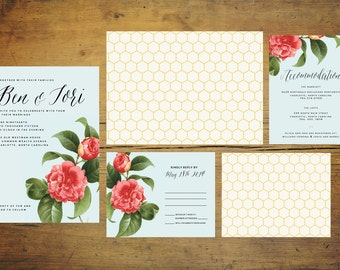 Mint Green Wedding Invitation Suite (Set of 25)   Wedding Invitation Set, Floral Wedding, Green Wedding, Red, Flower, Honeycomb