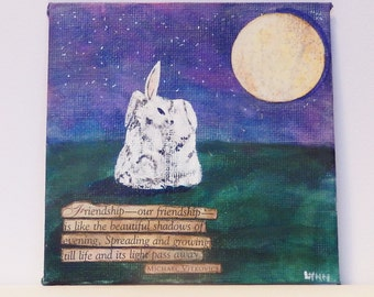 """Mixed media original painting of two bunny rabbits under a night sky with moon and stars and Friendship quote, 4""""x4"""", Miniature art"""