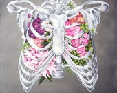 Floral Anatomy: Ribcage Print of Oil Painting