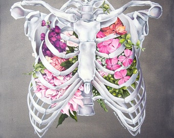 Floral Anatomy: Ribcage Print of Oil Painting - Anatomical Art Print - Human Body - Medical Art