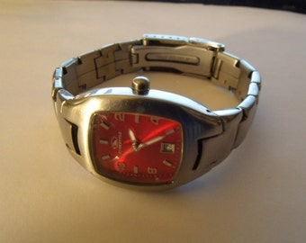 Ladies Watch Red Dial Quartz Stainless Steel Perfect for Christmas