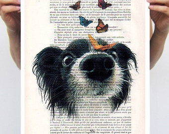 Animal painting drawing illustration portrait painting mixed media decorative art digital print dog POSTER 11x16: Doggy with butterflies
