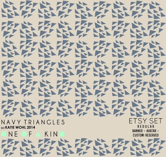 RESERVED for Chloe - Navy Triangles - etsy set