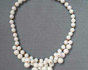 TRIFARI Bubble Bib White Lucite Necklace