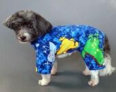 Blue Dog Pajamas with Dinosaurs, Super Soft No Pill Fleece