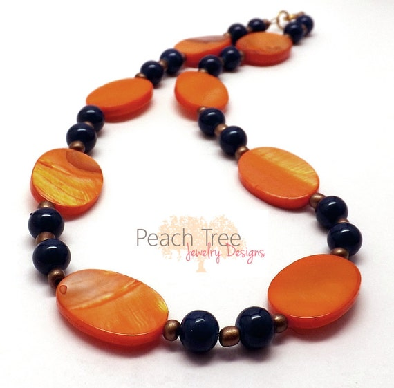Beaded Shell Necklace, Glass Necklace, Mother of Pearl Necklace, Seed Bead Necklace, Orange and Blue Necklace