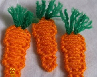 3 - Handmade Plastic Canvas Easter Carrot Magnets