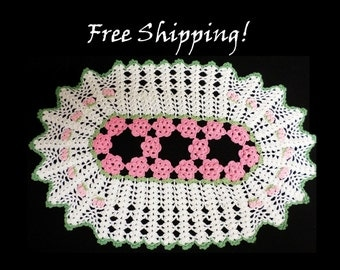 Doily Hand Made 16 x 11 Vintage FREE SHIPPING!