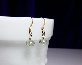 Green Amethyst Gemstone Earrings, Valentines Mothers Day, Mom Sister Grandmother Bridesmaid Jewelry Gift, Gold Fill