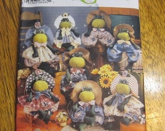 FOLKSY Rustic Stuffed FROGS & Clothes - Cute Spring Toad Decorations - UNCUT Sewing Pattern Simplicity Crafts 5599