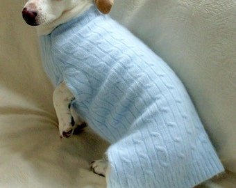 Custom soft warm Merino wool cashmere angora blend dachshund sweater cable knit in baby blue