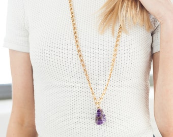 "Amethyst Pendant Necklace, Wrap Around Gold Chain - ""Andrew"""