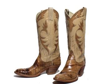 6 A | Women's Dan Post Cowboy Boots Tan Eel Skin w/ Inlay Fancy Western Boots