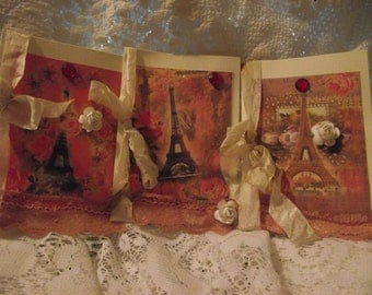 Set Of Six Eiffel Tower  Cards All Occasion Cards Scrap Booking Cards Elegant Cards