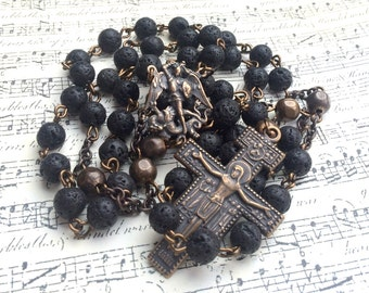 Male Rosary - Black Volcanic Rock Beads - St. Michael the Archangel - St Francis  Made in USA