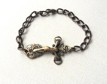 Men's Bracelet - Jesus Bracelet - Chain Bracelet - Vintaj Natural Brass -  Made in USA