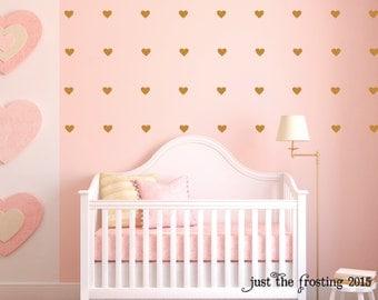 Heart Decals - Gold Heart Decals - Bathroom Decal - Heart Vinyl Gold Decals - Nursery Wall Decor - Heart Wall Art - Baby Wall Decal