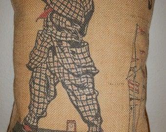 Burlap pillow Vintage Golfer Decorative Pillow Golf sports Accent
